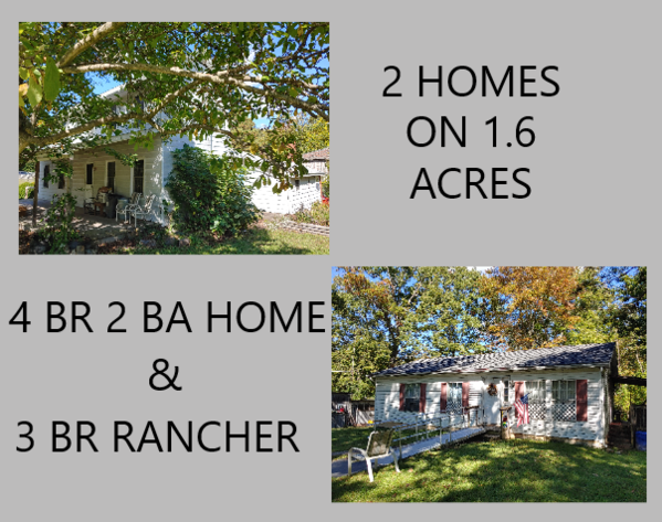 2 HOMES ON 1.6 ACRES  4 BR, 2 BA MAIN HOME AND 3 BR MODULAR HOME