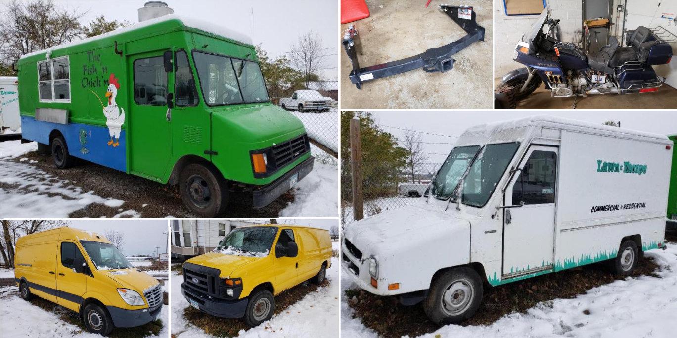1997 Chevrolet 22' Food Truck, 1993 Mail Truck, 2010 Freightliner Sprinter Van, 2012 Ford F-250, 1986 Honda Gold Wing