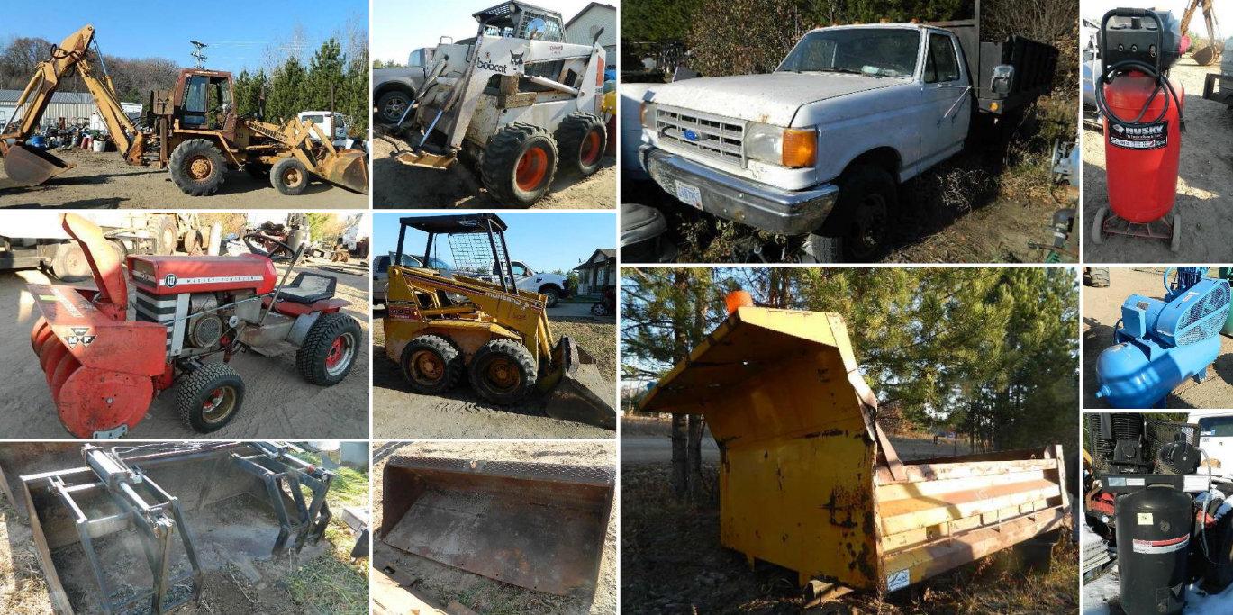 Case 780 Backhoe, Bobcat 943, Mustang 440 Skids, Trailers, Trucks, Tools