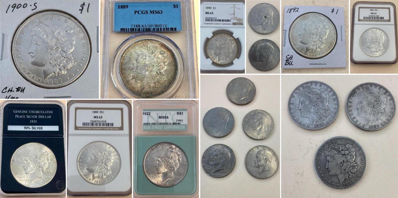 Silver Dollar & Half Dollar Coins: Peach, Morgan, Walking Liberty, Barber, Franklin, Kennedy