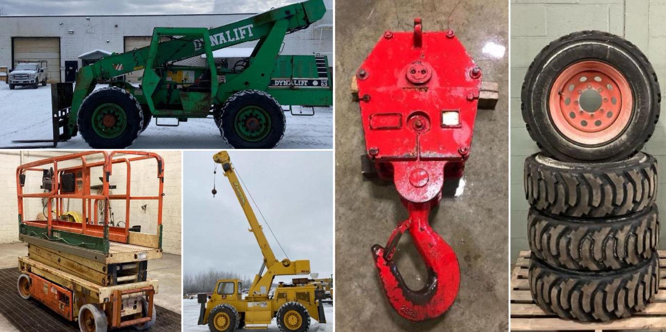Grove RT58 Rough Terrain Crane, Dynalift Telehandler, JLG Scissor Lift, Hook Block, Skid Steer Tires