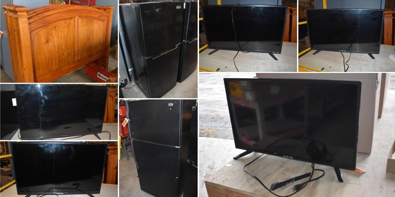 (37) TV's, (22) Refrigerators, (10) Wood King Headboards and (3) Electric Stoves