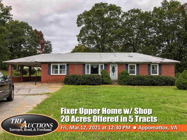 Fixer Upper Home with Shop on 20 Acres in 5 Tracts