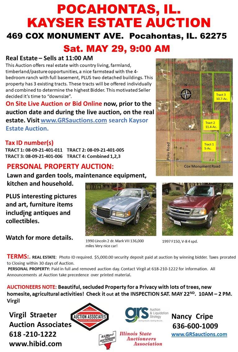 KAYSER - Real Estate Auction, Pocahontas, IL