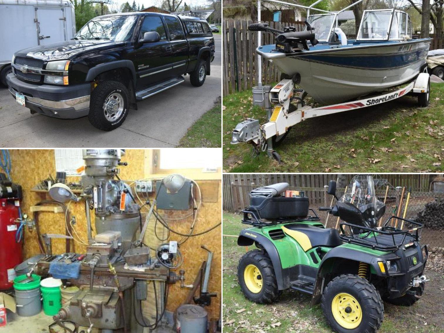 Downsizing Phase 1: 2003 Chevrolet Silverado, Boat, Bridgeport Mill, Southbend Lathe, Equipment & Tools