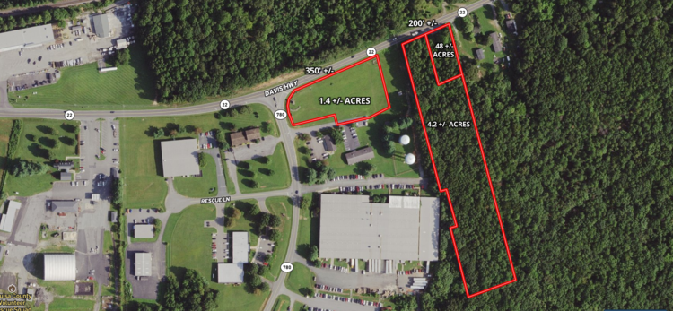 6 +/- Acres (3 Parcels) of Mainly Industrial Land Fronting Davis Highway (Rt. 22) in Louisa County, VA--ONLINE ONLY BIDDING!!