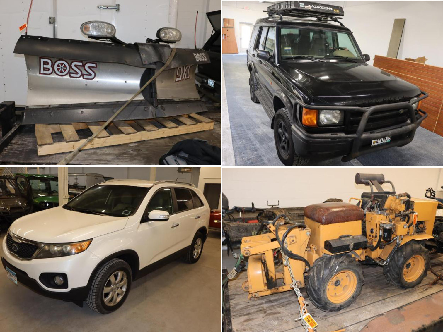 2012 Kia Sorento FWD, Stainless Steel V-Plow, 2002 Land Rover Discovery SE, Davis Line Layer Machine, Insulation Blowing Machine