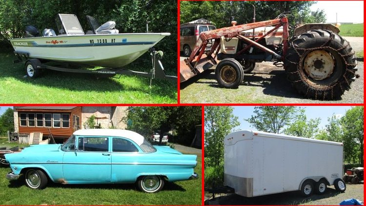 1955 Ford, Trailers, Boat, Tools, Lawn & Garden