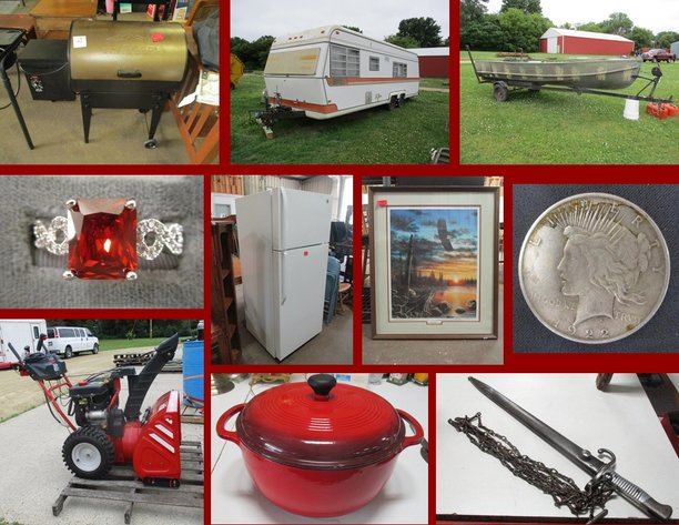 Camper, Traeger Grills, Sterling and Collectibles (red tag)