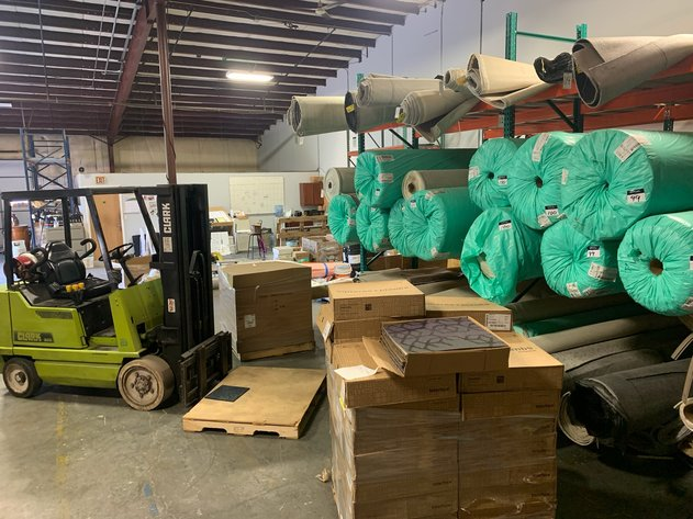 Commercial Flooring Installer's Warehouse Inventory