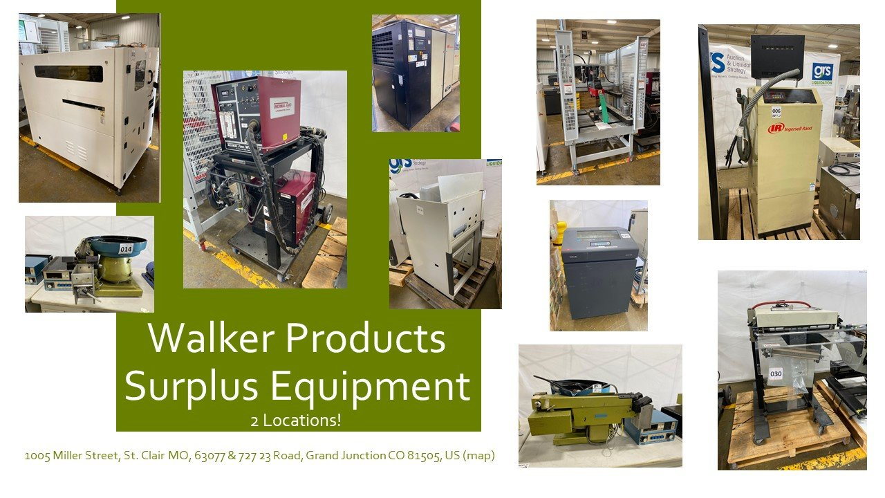 Walker Products Surplus Manufacturing Equipment