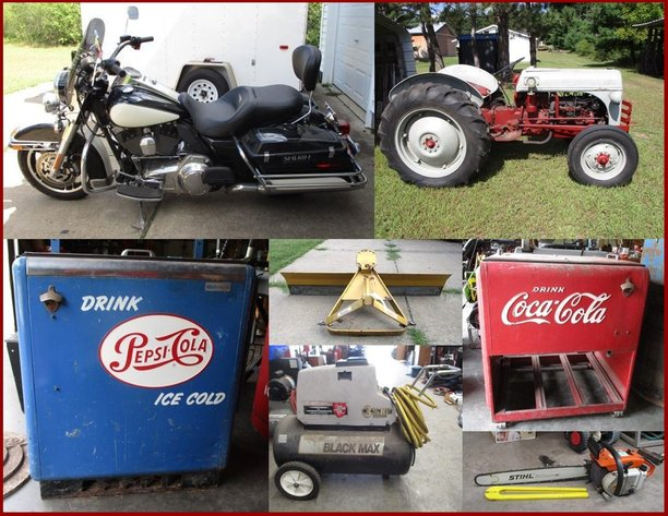 2012 Harley, Ford 8N Tractor, Tools, Antiques & Household