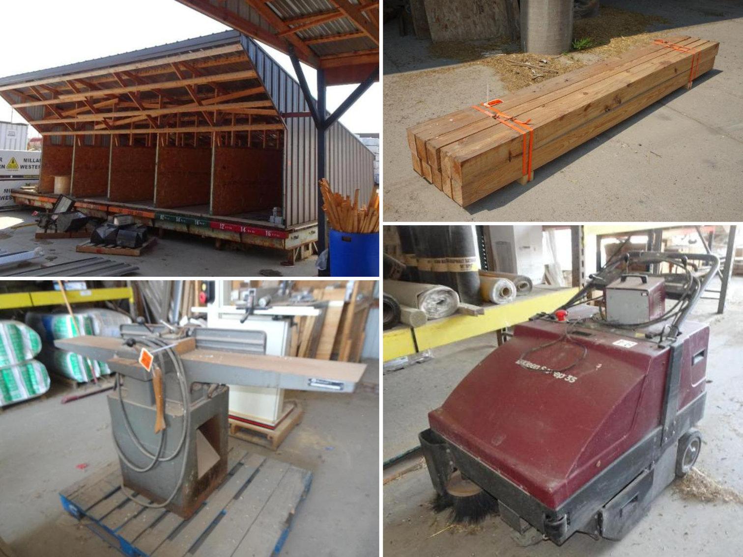 Shop Equipment, Lumber, Rollers, Motors, & More