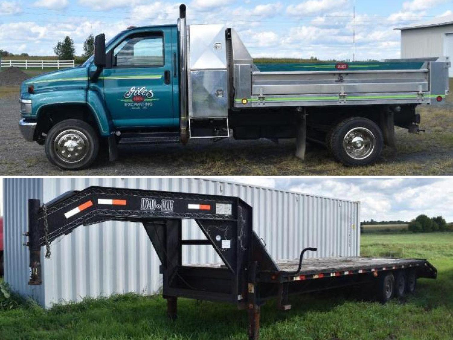 2003 Chevrolet CB C45 Contractors Dump Truck & 2005 Load-Max 28' Tri-Axle Gooseneck Trailer