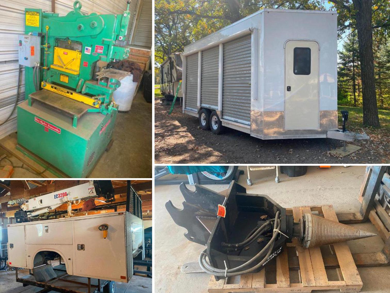 Uni Hydro 66 Ton Ironworker, 2021 Aluma Custom Display Trailer, Knapheide Truck Service Box, Wood Splitter