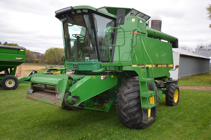 JD 9400 COMBINE, JD 4250 TRACTOR, AND FARM EQUIPMENT