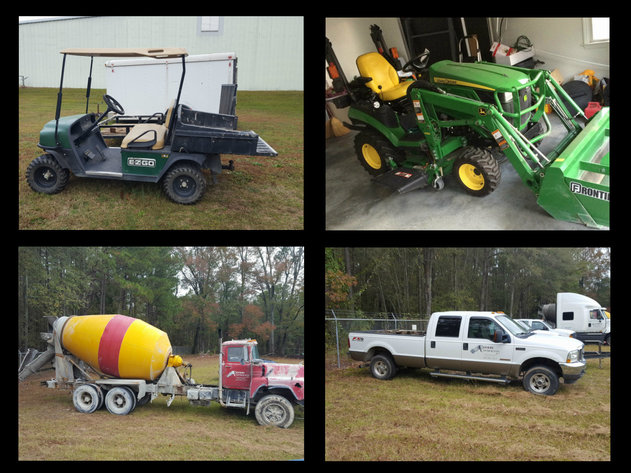 John Deere Tractor, Concrete Trucks, Pick Up Trucks. Trailers, Golf Cart, Tools and Much More