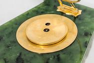 Desk Clock, probably Faberge by  Workmaster Hjalmar Armfelt with Diamonds, Nephrite Jadeite and Natural Ruby Corundum Gemstones