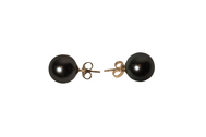 Pair of 18kt yellow gold Cultured Saltwater Tahitian Pearl post back pierced style earrings