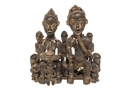 Wood Carved Seated Figures - Male and Female