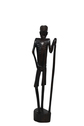 Wood Carved Standing Male with Walking Stick