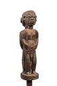 Wood Carved Male and Female Standing Back to Back