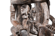 Male and Female Wood Carved Seated Figures