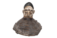 Wood Carved Headdress Mounted on Basket