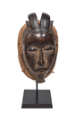 Wood Carved Mask Mounted on Stand