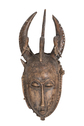 Wood Carved Mask with Extended Horns