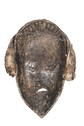Wood Carved Mask with Cowrie Shell Coiffure
