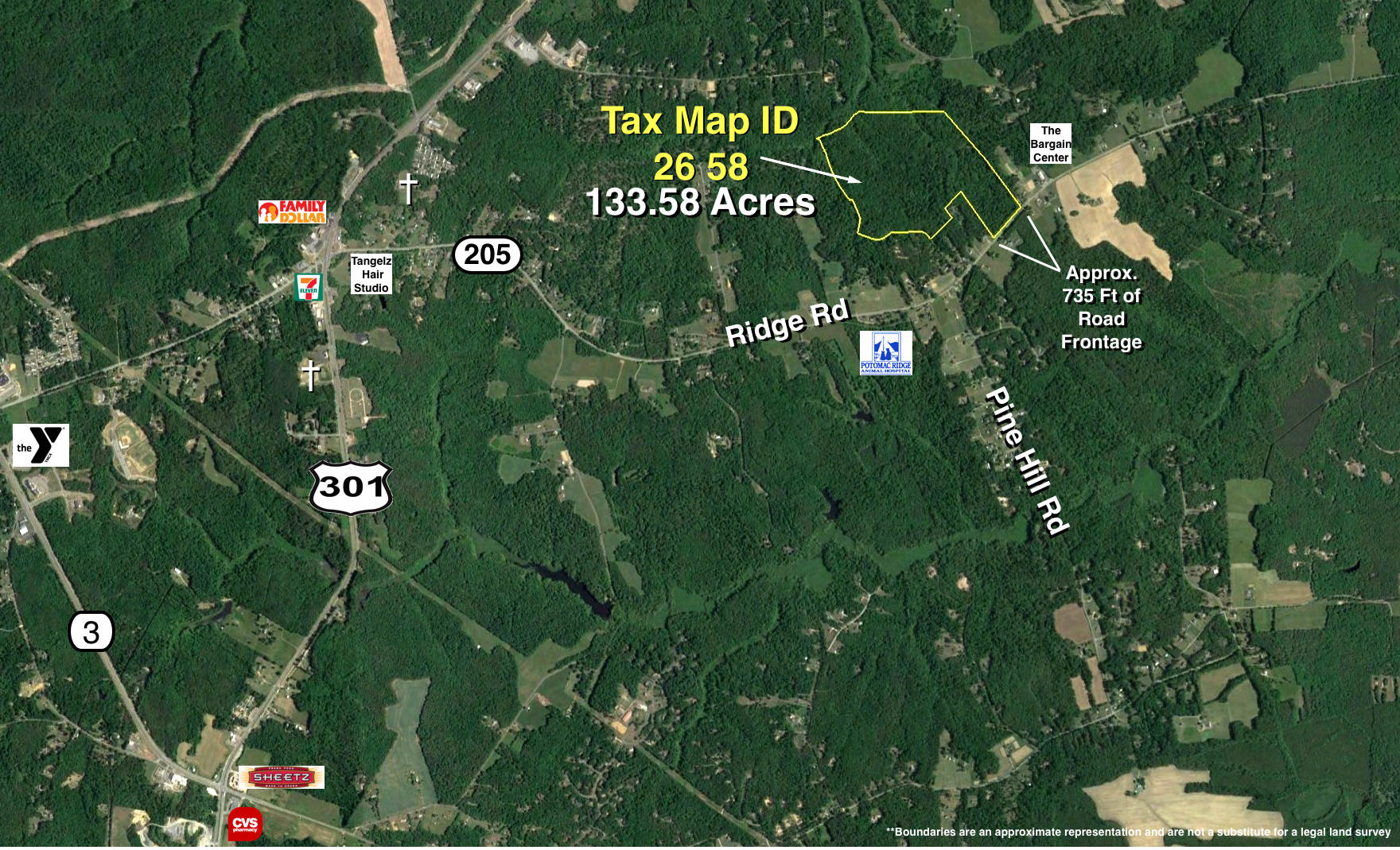 133 +/- Acres Zoned A-2 w/700'+ of Frontage on Rt. 205--King ... King George Va Road Map on king george va history, king george va community, king george va hotels,
