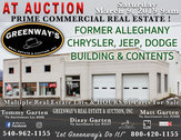 Former Alleghany Chrysler Jeep Dodge Building, Contents, & Real Estate