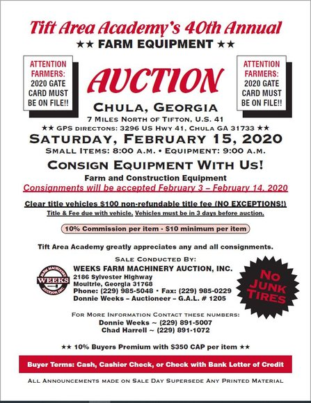 Tift Area Academy's 40th Annual Farm Equipment Auction - Feb 15
