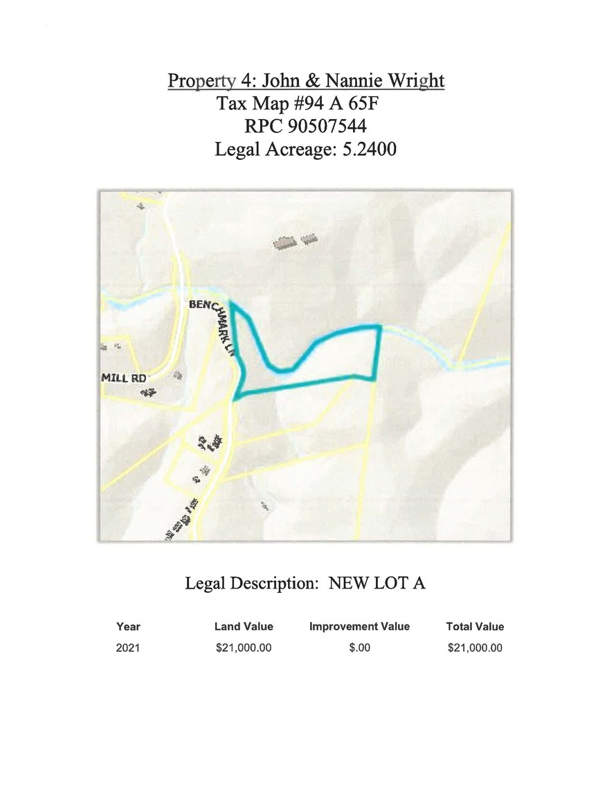 Image for 5.24 acres +/- new Lot A on Benchmark Lane, Bedford