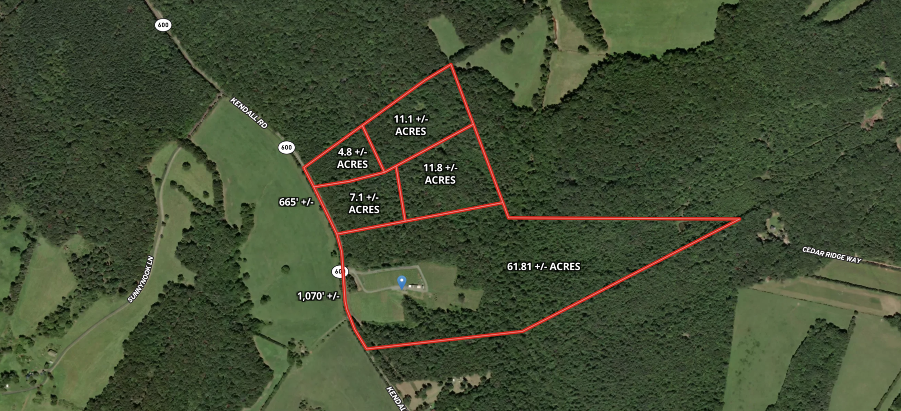 Image for Combination of 4 Contiguous Orange County, VA Wooded Building Lots AND 61.81 +/- Acre Farm/Winery/Vineyard