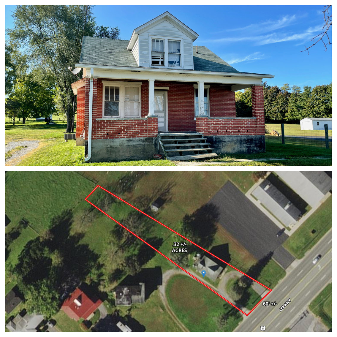 Image for .32 +/- Acres w/3 BR/1 BA Brick Structure Fronting Rt. 11 (Lee Hwy.) in Augusta County, VA--SELLING to the HIGHEST BIDDER!!