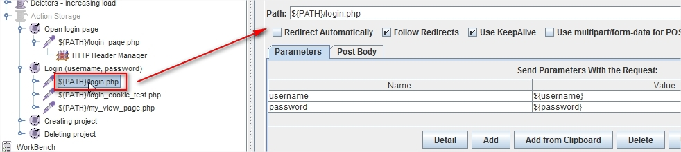 """Action Storage""->""Login(username, password)"""