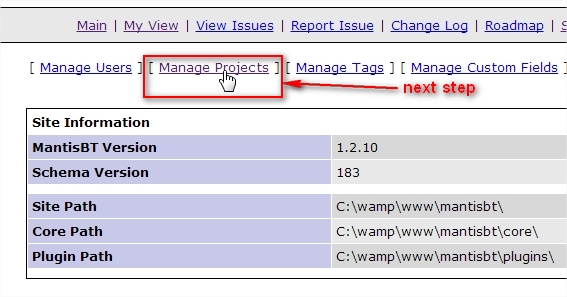 "Switching to the ""Manage projects"" page."