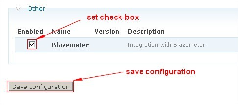 """Scroll down to the end of page. There you will see the """"Other"""" section. Switch on BlazeMeter check-box. Save changes."""