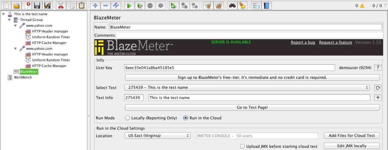 BlazeMeter Listener to JMeter- Edit