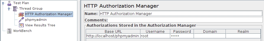 JMeter HTTP Authorization Manager