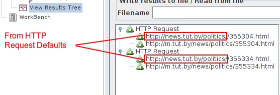 HTTP Request Defaults from JMeter