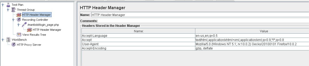 Header Manager View