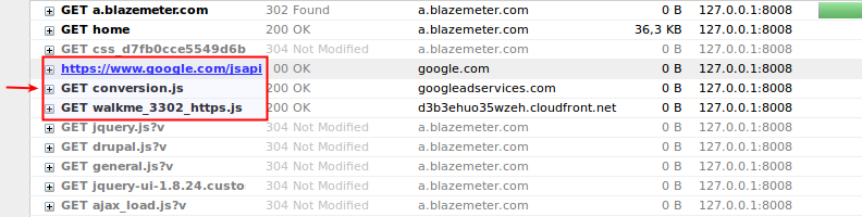 Blazemeter's HTTPS traffic as well as encrypted traffic from external sites.