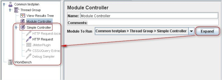 JMeter improvement in the Module Controller element.
