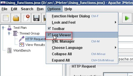 JMeter Functions: Activate log viewer
