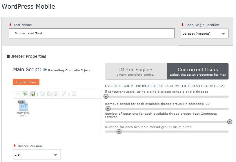 Upload your JMeter script to BlazeMeter's load testing platform