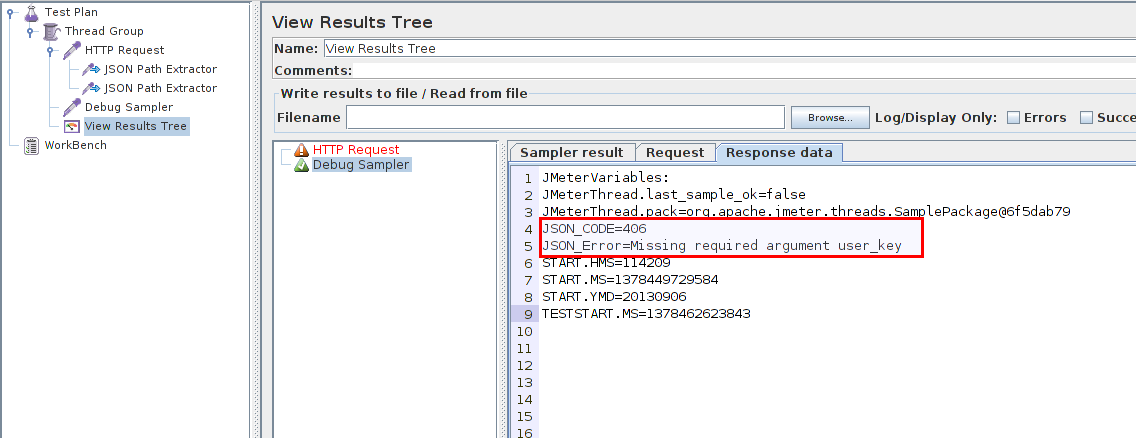 "In ""View Results Tree"" listener you will see that JSON data was parsed successfully."