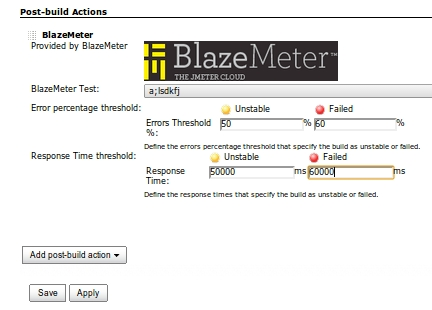 Add data to post build actions after selecting BlazeMeter